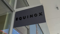 Close-up of sign for luxury gym Equinox in San Ramon, California, March 12, 2019.
