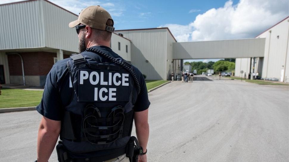 US Immigration and Customs Enforcement's (ICE) special agent preparing to arrest alleged immigration violators at Fresh Mark, Salem, June 19, 2018.