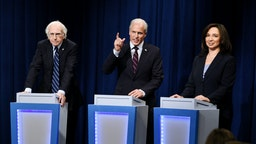 "Larry David as Bernie Sanders, Woody Harrelson as Joe Biden, and Maya Rudolph as Kamala Harris during the ""DNC Town Hall"" sketch on Saturday, September 28, 2019."