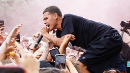 Slowthai performs on stage during day 1 of Lovebox 2019 at Gunnersbury Park on July 12, 2019 in London, England.