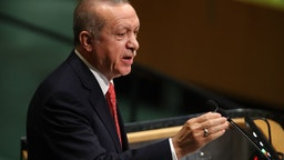 NEW YORK, NY - SEPTEMBER 25: Turkish President Recep Tayyip Erdogan addresses the 73rd United Nations (U.N.) General Assembly on September 25, 2018 in New York City.