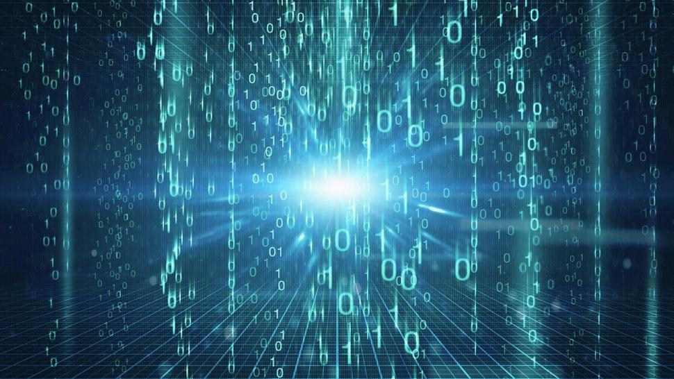Digital generated image of light shining behind binary code