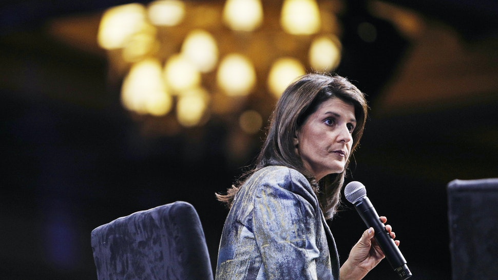 Nikki Haley, former U.S. ambassador to the United Nations (UN), pauses during the Skybridge Alternatives (SALT) conference in Las Vegas, Nevada, U.S., on Thursday, May 9, 2019. SALT brings together investors, policy experts, politicians and business leaders to network and share ideas to unlock growth opportunities in finance, economics, entrepreneurship, public policy, technology and philanthropy.