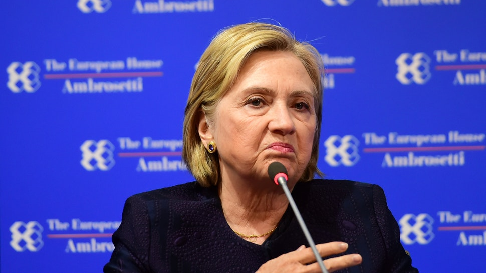 "Hilary Clinton, former US Secretary of State speaks during the Ambrosetti International Economic Forum 2019 ""Lo scenario dell'Economia e della Finanza"" on September 7, 2019 in Cernobbio, Italy."