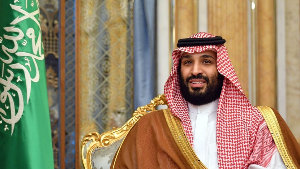 Saudi Arabia's Crown Prince Mohammed bin Salman attends a meeting with the US secretary of state in Jeddah, Saudi Arabia, on September 18, 2019.