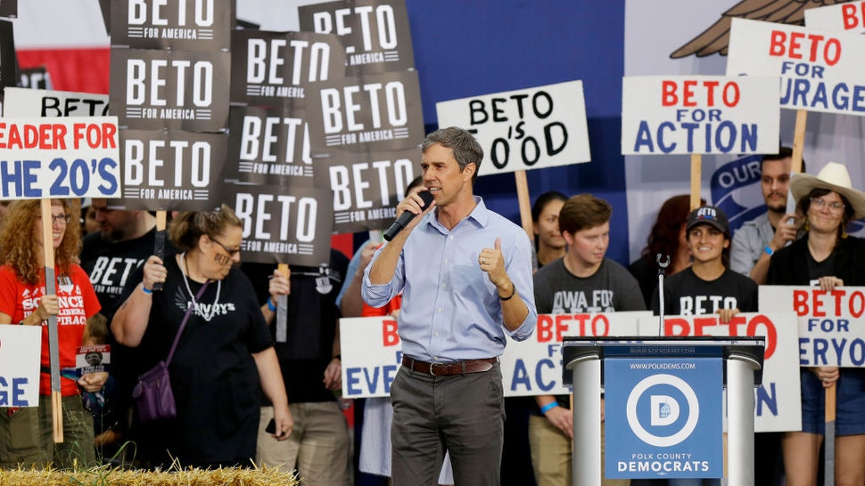 Democratic presidential candidate, former Rep. Beto O'Rourke (D-TX) speaks during the Democratic Polk County Steak Fry on September 21, 2019 in Des Moines, Iowa.