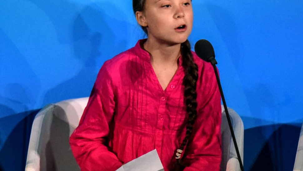 Youth Climate activist Greta Thunberg speaks during the UN Climate Action Summit on September 23, 2019 at the United Nations Headquarters in New York City.