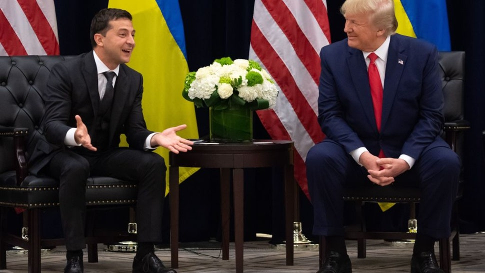 US President Donald Trump and Ukrainian President Volodymyr Zelensky meet in New York on September 25, 2019, on the sidelines of the United Nations General Assembly.
