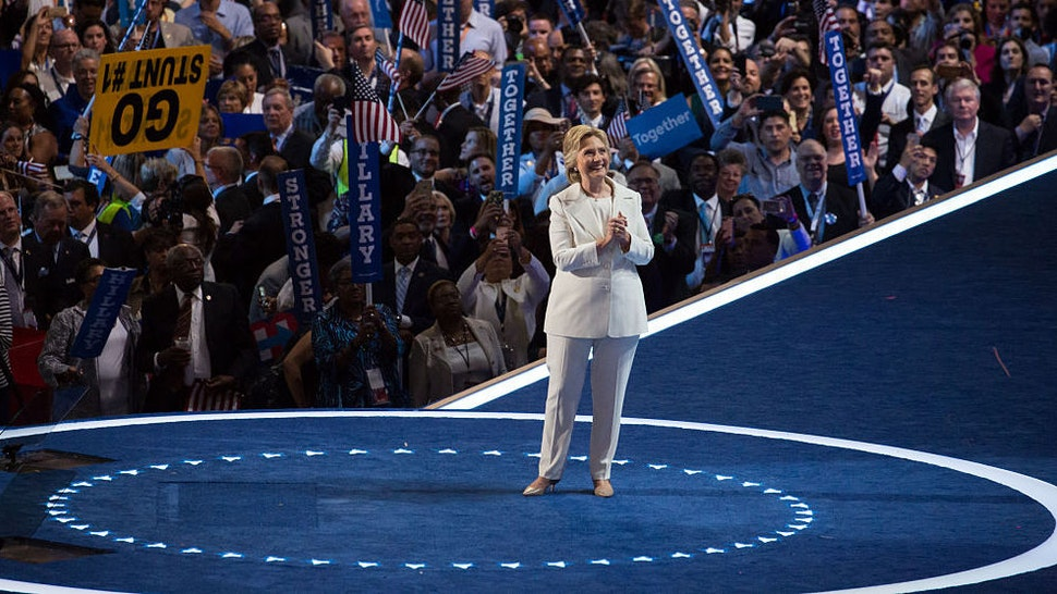 Philadelphia, PA — On Wednesday, July 27, in the Wells Fargo Center, Hillary Clinton takes it all in, after giving her nomination acceptance speech on the last day of the Democratic National Convention. (Photo by Cheriss May/NurPhoto)