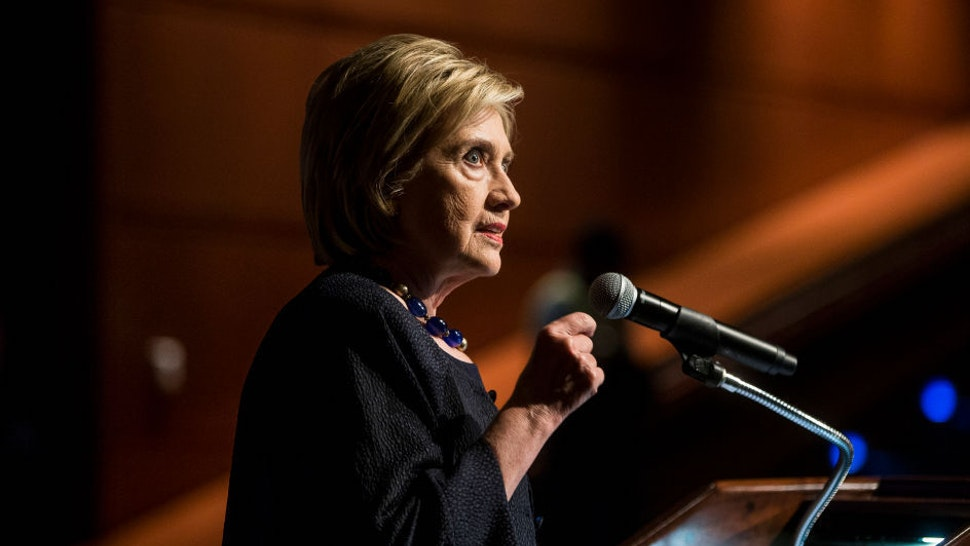Former Secretary of State Hillary Clinton delivers a keynote speech during the American Federation of Teachers Shanker Institute Defense of Democracy Forum at George Washington University on September 17, 2019 in Washington, DC. The forum examines challenges to democratic institutions and focused on civic engagement, voter rights, and voter suppression. (Photo by Zach Gibson/Getty Images)
