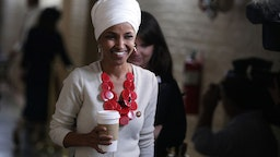 Rep. Ilhan Omar arrives at a House Democratic Caucus meeting at the U.S. Capitol September 25, 2019