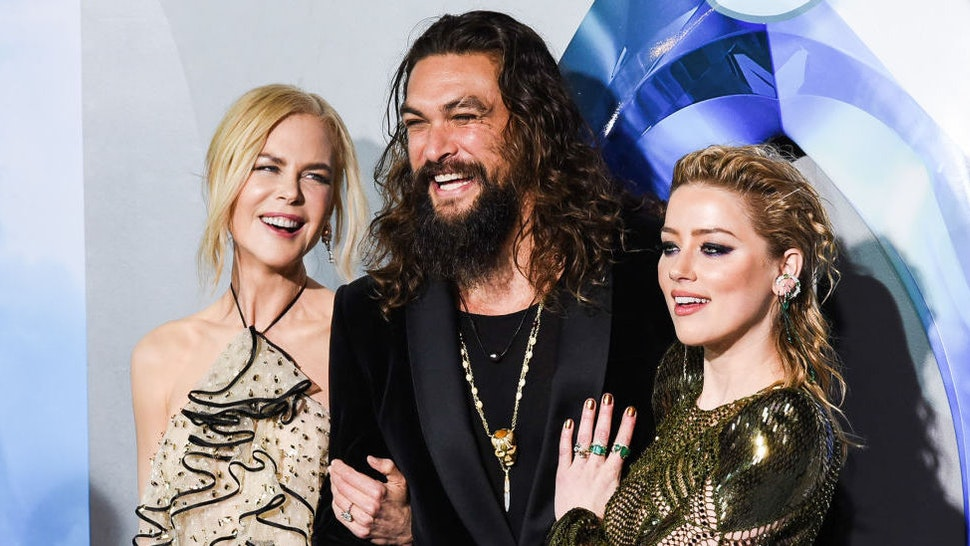 """Nicole Kidman, Jason Momoa and Amber Heard attend the premiere of Warner Bros. Pictures' """"Aquaman"""" at TCL Chinese Theatre on December 12, 2018 in Hollywood, California. (Photo by Presley Ann/FilmMagic)"""
