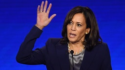 Democratic presidential hopeful California Senator Kamala Harris speaks during the third Democratic primary debate of the 2020 presidential campaign season hosted by ABC News in partnership with Univision at Texas Southern University in Houston, Texas on September 12, 2019.