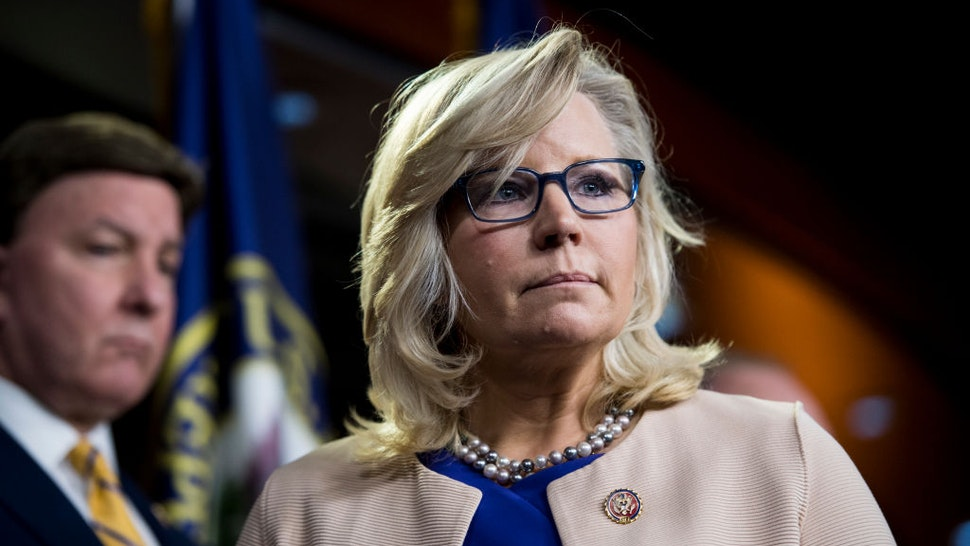 Republican Conference Chair Liz Cheney participates in the House Republican leadership press conference
