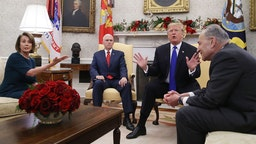 President Trump Meets With Nancy Pelosi And Chuck Schumer At White House on December 7, 2018 in Washington, DC.