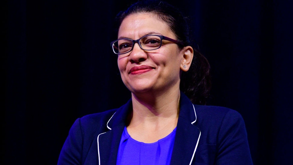 Rep. Rashida Tlaib (D-MI) takes part in a panel discussion led by Aimee Allison