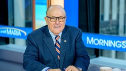 "Former New York City Mayor and attorney to President Donald Trump Rudy Giuliani visits ""Mornings With Maria"" with anchor Maria Bartiromo at Fox Business Network Studios on September 23, 2019 in New York City. (Photo by Roy Rochlin/Getty Images)"