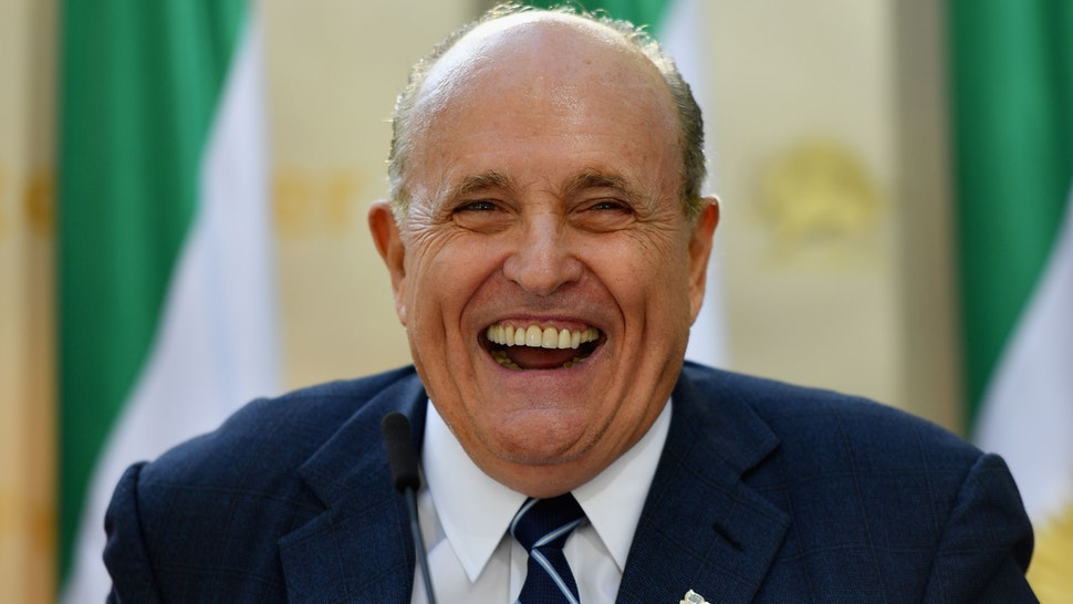 """Rudy Giuliani, Former Mayor of New York City speaks to the Organization of Iranian American Communities during their march to urge """"recognition of the Iranian people's right for regime change,"""" outside the United Nations Headquarters in New York on September 24, 2019."""