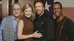 Promotional portrait of the cast of the television series 'Walker, Texas Ranger,' 1997.