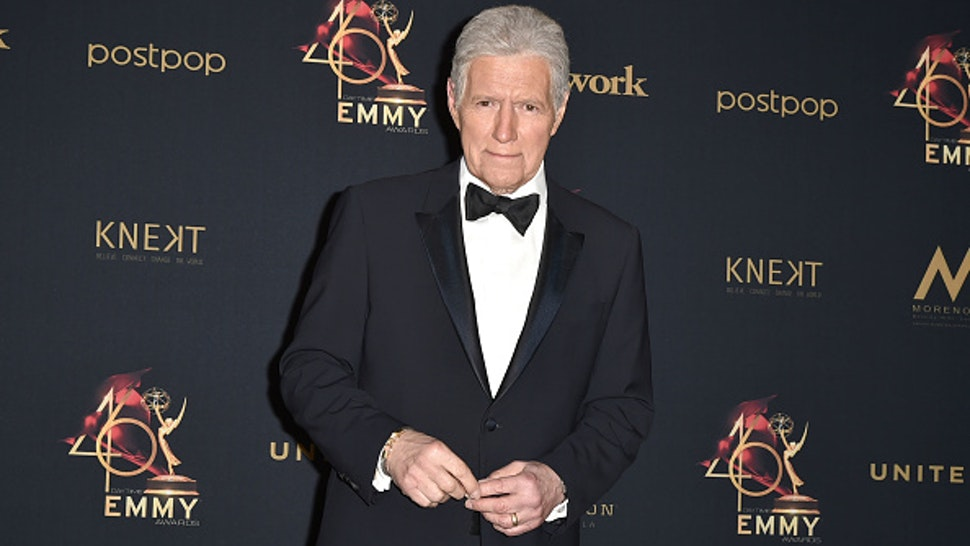 PASADENA, CALIFORNIA - MAY 05: Alex Trebek, winner of the Outstanding Game Show Host award, poses at the 46th Annual Daytime Emmy Awards - Press Room at Pasadena Civic Center on May 05, 2019 in Pasadena, California.