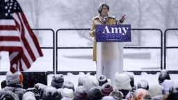 Amy Klobuchar announces her candidacy for president in a heavy snow fall on February 10, 2019