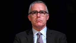 LOS ANGELES, CA - MARCH 14: Andrew McCabe presents onstage at the American Jewish University on March 14, 2019 in Los Angeles, California.