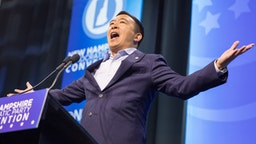 MANCHESTER, NH - SEPTEMBER 07: Democratic presidential candidate, entrepreneur Andrew Yang speaks during the New Hampshire Democratic Party Convention at the SNHU Arena on September 7, 2019 in Manchester, New Hampshire. Nineteen presidential candidates will be attending the New Hampshire Democratic Party convention for the state's first cattle call before the 2020 primaries