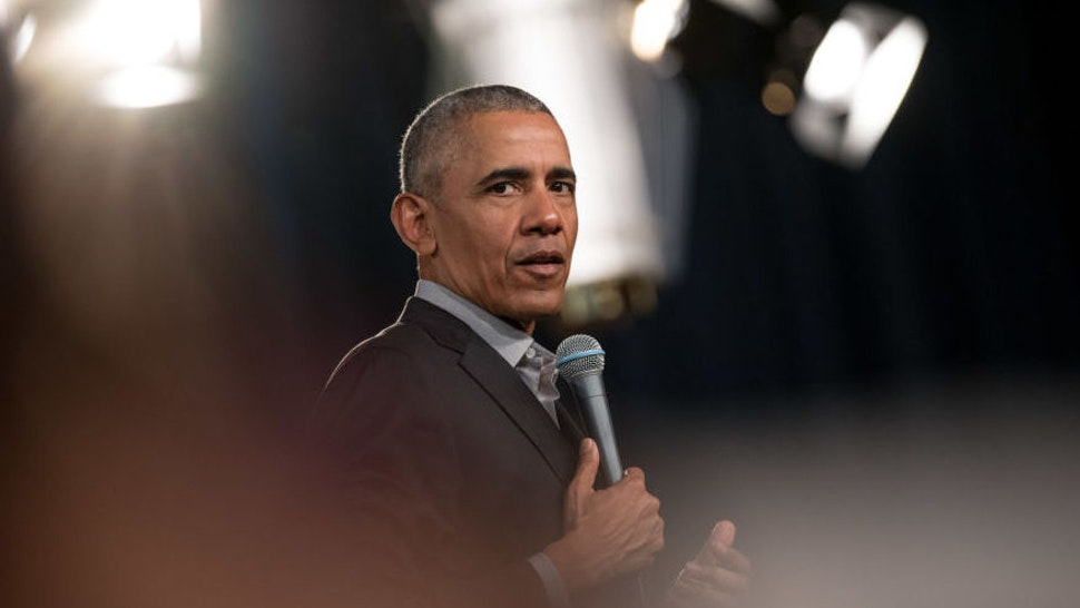 Former US President Barack Obama addresses questions from young people at a Town Hall event at the European School of Management and Technology.