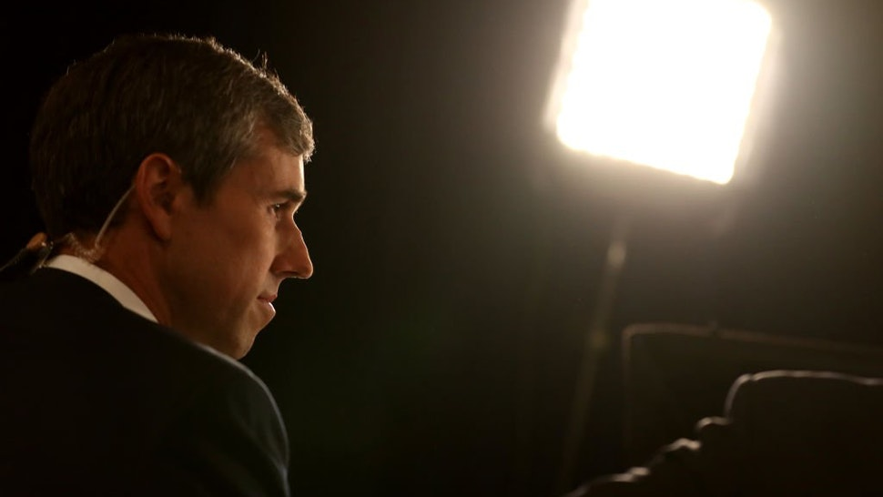 Democratic presidential candidate former Texas congressman Beto O'Rourke is interviewed by the media in the spin room after the Democratic Presidential Debate at Texas Southern University on September 12, 2019 in Houston, Texas.