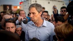 Beto O'Rourke pauses as he speaks to members of the media outside Cielo Vista Walmart in El Paso, Texas,