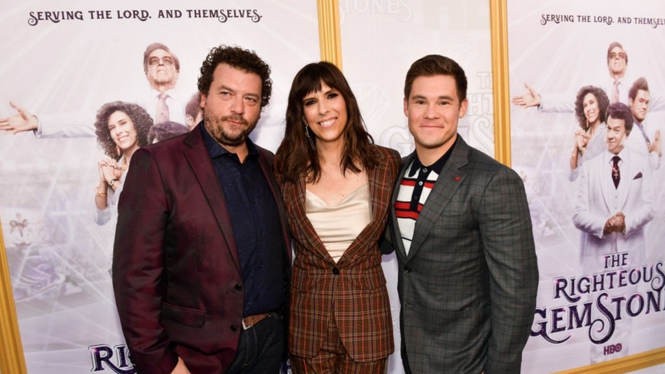 """Danny McBride, Edi Patterson and Adam DeVine attend the Los Angeles premiere of New HBO Series """"The Righteous Gemstones"""" at Paramount Studios on July 25, 2019 in Hollywood, California."""