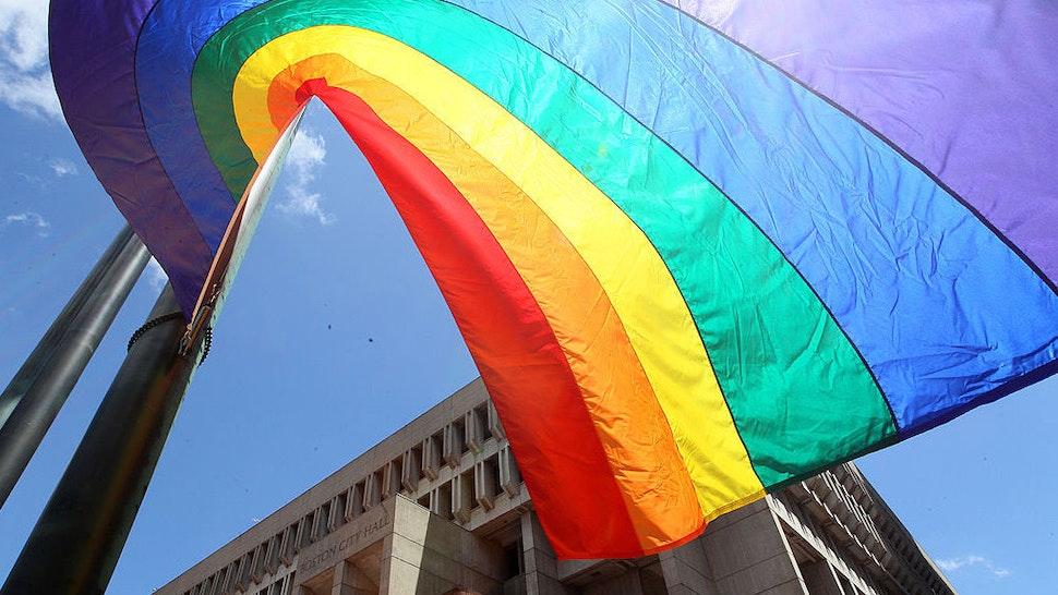 Gay Pride Flag At Boston City Hall