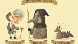 Medieval Black Plague set: an infected man with painful buboes, a masked doctor and a group of rats carrying the plague.