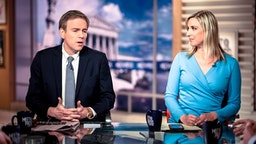 "Bret Stephens, Columnist, The New York Times; MSNBC Contributor, and Carol Lee, NBC News National Political Reporter appear on ""Meet the Press"" in Washington, D.C., Sunday, June 17, 2018."