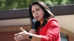 Democratic presidential candidate Rep. Tulsi Gabbard (D-HI) delivers a 20-minute campaign speech at the Des Moines Register Political Soapbox during the Iowa State Fair August 09, 2019 in Des Moines, Iowa.