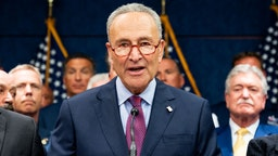 WASHINGTON, DC, UNITED STATES - 2019/07/23: U.S. Senator Chuck Schumer (D-NY) speaking at the press conference held after the passage of H.R.1327 - Never Forget the Heroes: James Zadroga, Ray Pfeifer, and Luis Alvarez Permanent Authorization of the September 11th Victim Compensation Fund Act at the Capitol in Washington, DC on July 23, 2019.