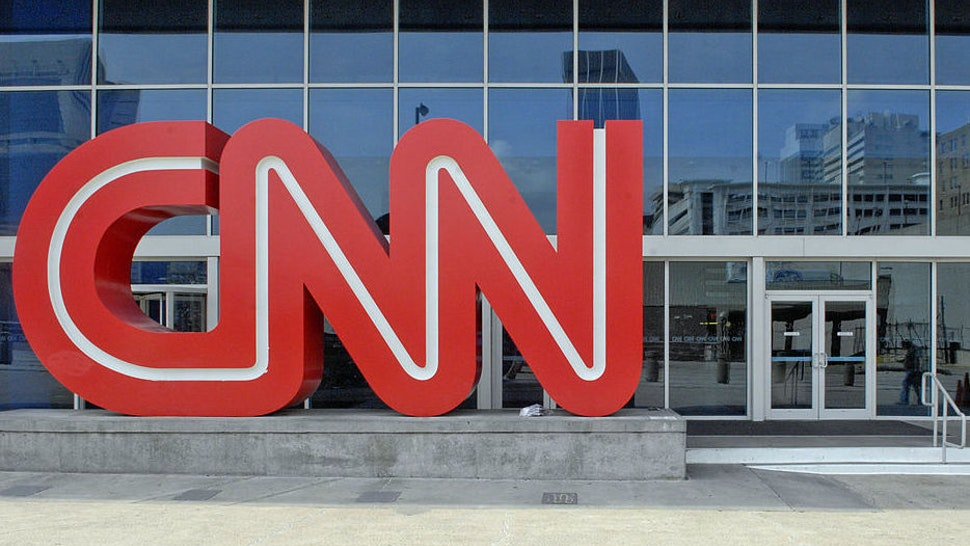A CNN logo stands outside the CNN Center on Tuesday April 3,
