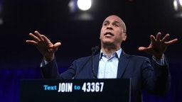 Democratic presidential candidate U.S. Sen. Cory Booker (D-NJ) speaks during the Democratic Presidential Committee (DNC) summer meeting on August 23, 2019 in San Francisco, California.