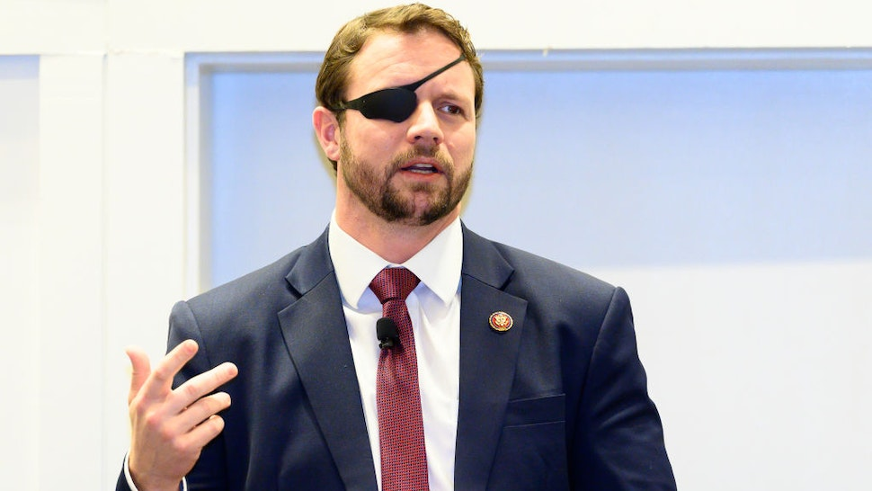 Dan Crenshaw seen speaking at the American Conservative Union's Conservative Political Action Conference