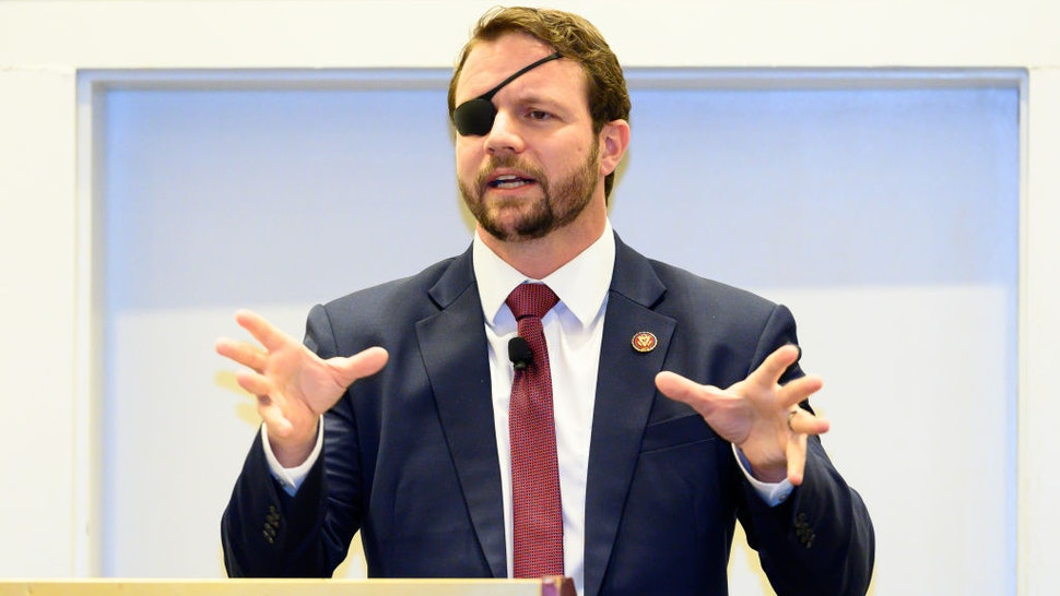 OXON HILL, MD, UNITED STATES - 2019/02/27: U.S. Representative Dan Crenshaw (R-TX) seen speaking at the American Conservative Union's Conservative Political Action Conference (CPAC) at the Gaylord National Resort & Convention Center in Oxon Hill, MD.