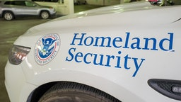 Close-up of logo for the United States Department of Homeland Security on an emergency vehicle in San Francisco, California, February 25, 2019.