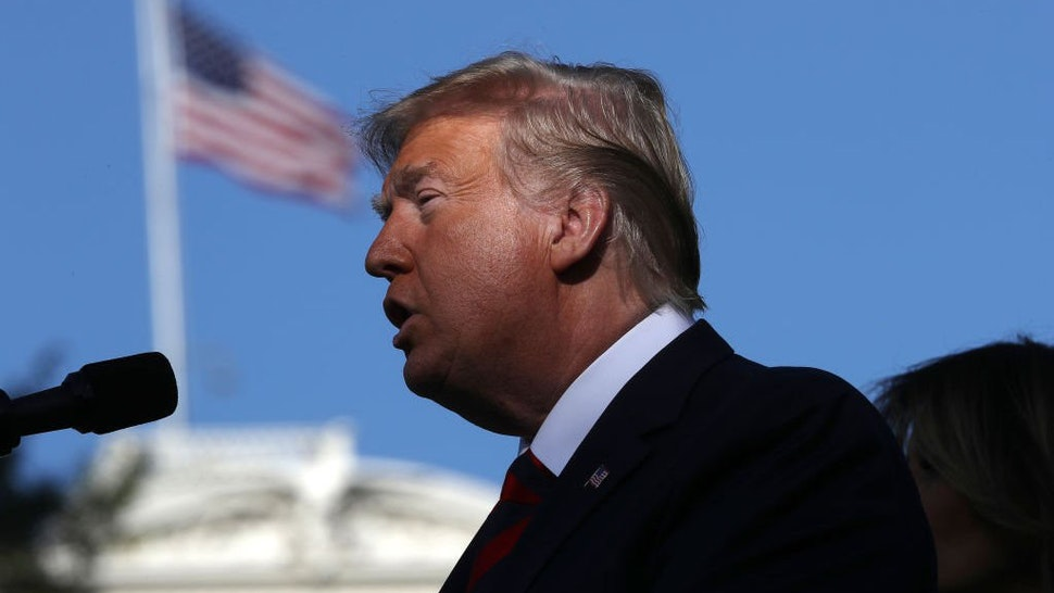 U.S. President Donald Trump delivers remarks while welcoming Australian Prime Minister Scott Morrison to the White House September 20, 2019 in Washington, DC.