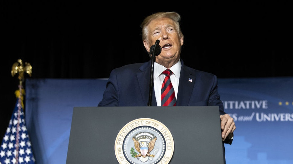 """U.S. President Donald Trump speaks during the 2019 National Historically Black Colleges and Universities Week Conference in Washington, D.C., U.S., on Tuesday, Sept. 10, 2019. Trumpsaid he fired his hawkish national security adviser,John Bolton, after disagreeing """"strongly"""" with many of his positions, ending a tumultuous tenure marked by multiple setbacks in U.S. foreign policy."""