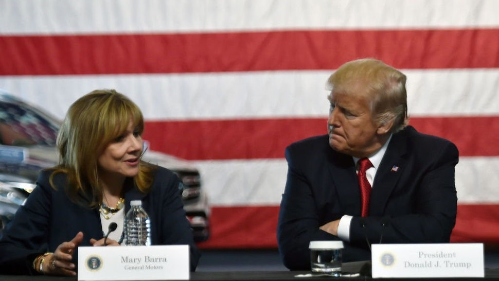 US President Donald Trump speaks at American Center for Mobility in Ypsilanti, Michigan with General Motors CEO Mary Barra on March 15, 2017.