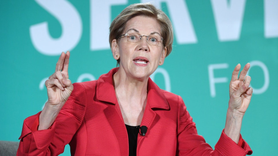 LAS VEGAS, NEVADA - AUGUST 03: Democratic presidential candidate and U.S. Sen. Elizabeth Warren (D-MA) speaks during the 2020 Public Service Forum hosted by the American Federation of State, County and Municipal Employees (AFSCME) at UNLV on August 3, 2019 in Las Vegas, Nevada.