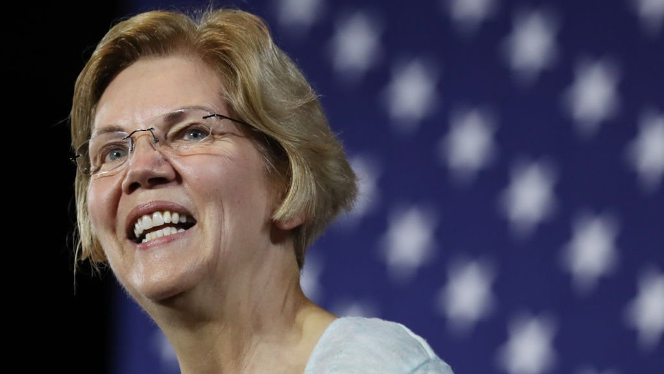 Elizabeth Warren speaks at Shrine Auditorium during a town hall