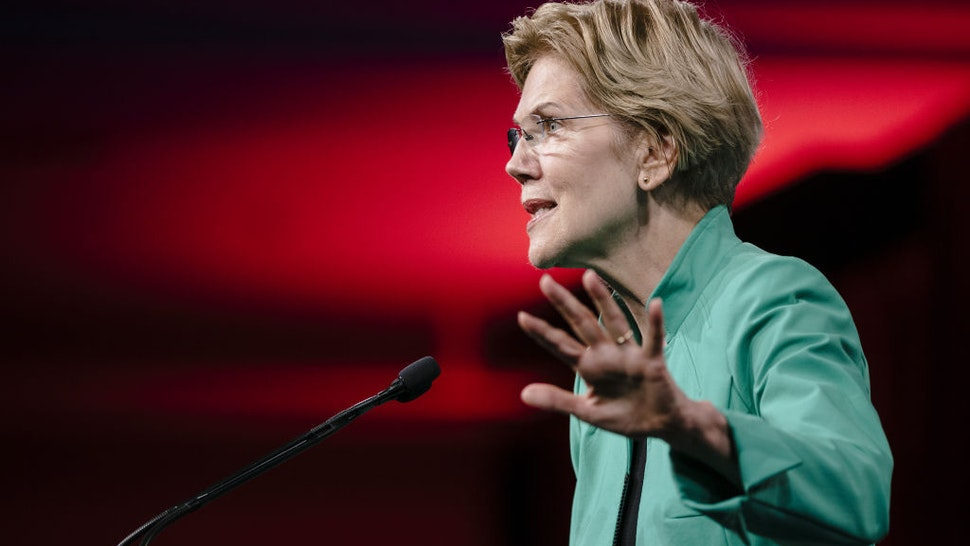Senator Elizabeth Warren, a Democrat from Massachusetts and 2020 presidential candidate, speaks during the Democratic National Committee (DNC) Summer Meeting in San Francisco, California, U.S., on Friday, Aug. 23, 2019.
