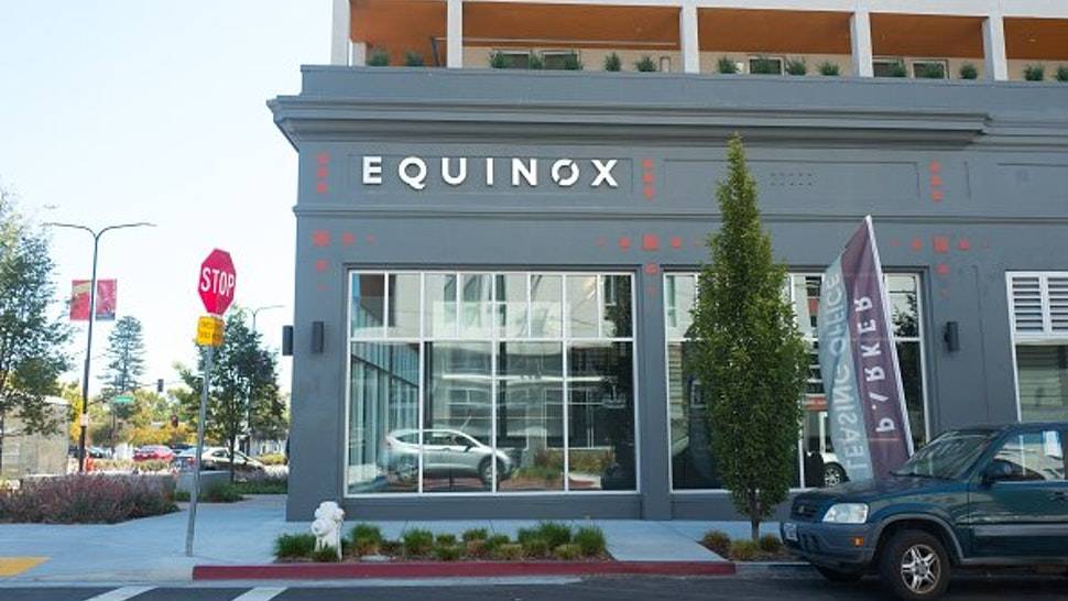 Sign on facade of the upscale Equinox gym in downtown Berkeley, California, September 18, 2018.