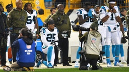 Eric Reid #25 of the Carolina Panthers kneels during the National Anthem before the game against the Pittsburgh Steelers at Heinz Field on November 8, 2018 in Pittsburgh, Pennsylvania.