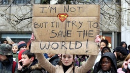 Students stage a protest against the government's climate policies in Brussels, Belgium on January 17, 2019.